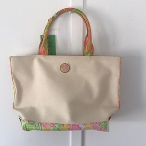 Lilly Pulitzer Small Cream/ Pink/Yellow Via Tote